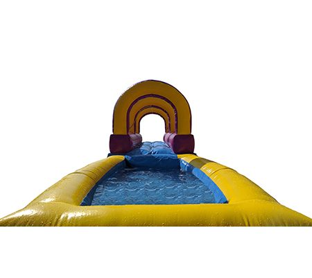 Inflatable bouncy castle with slider